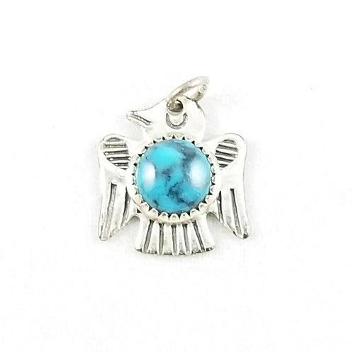 Sterling Silver Navajo Turquoise Thunderbird Charm / Pendant