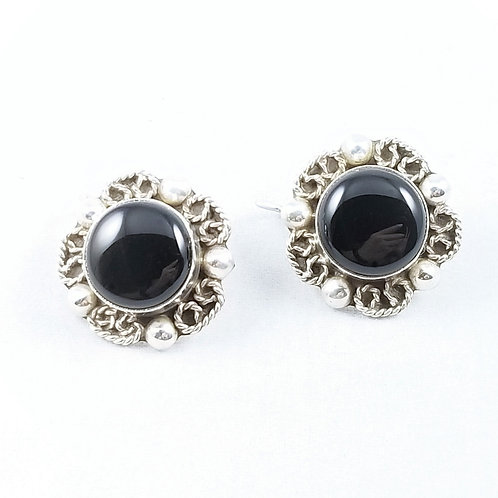 Hand Crafted Onyx & Sterling Earrings