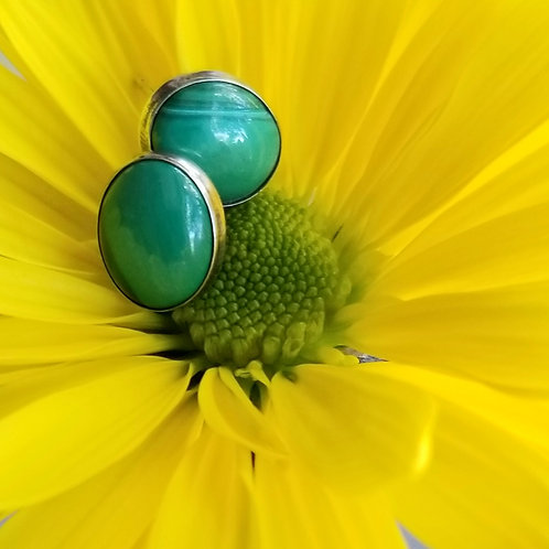 Hand Crafted Sterling & Malachite Stud Earrings
