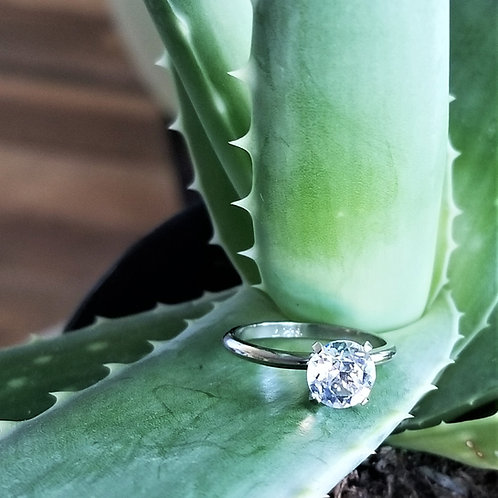 10k Plate CZ Engagement Ring