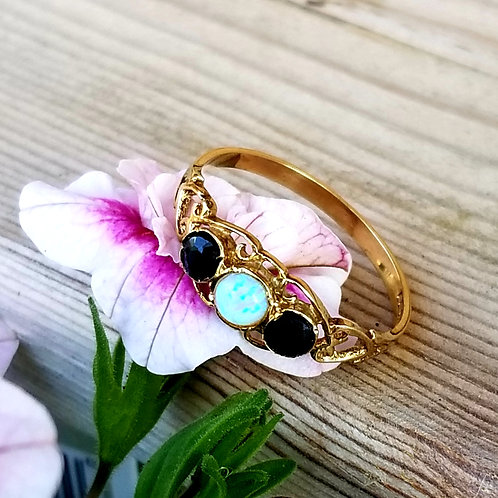Art Nouveau Style 9k Opal & Sapphire Ring
