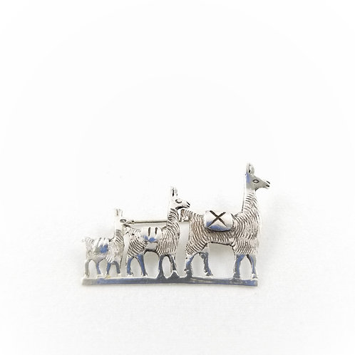Hand Crafted Sterling Peruvian Llama Family Brooch