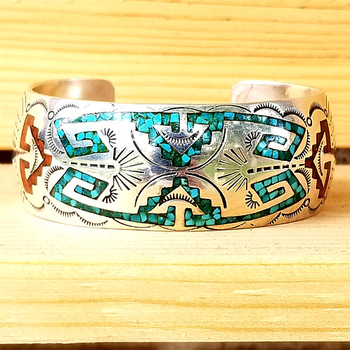 Navajo Sterling Silver Turquoise & Coral Inlay Cuff by Johnny Frank