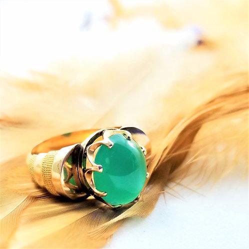 14k Cabachon Green Onyx Ring