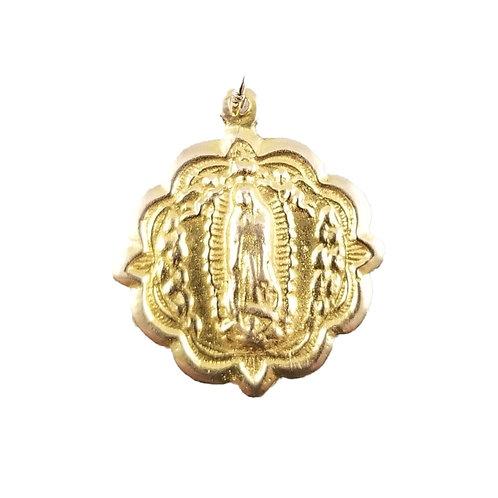 14k Vintage Virgen de Guadalupe Pendant