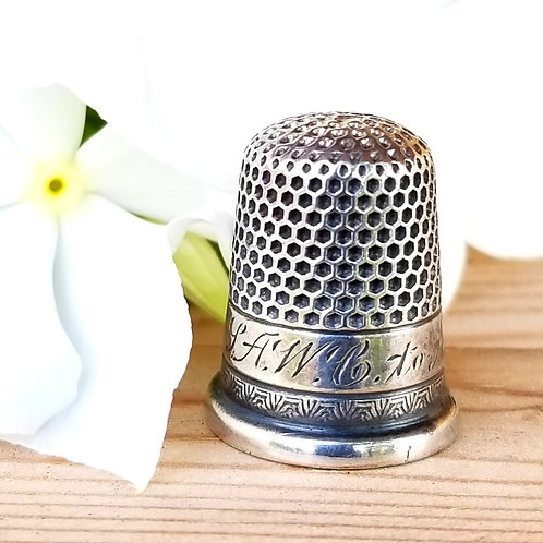 Victorian Sterling Ketcham McDougall Thimble, Size 7