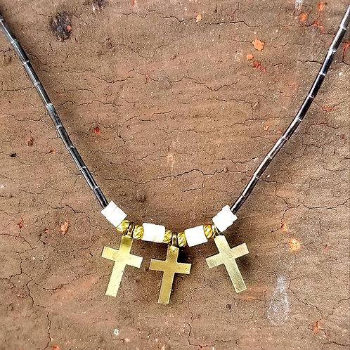 Vintage 12k & Silver Bead Cross Necklace