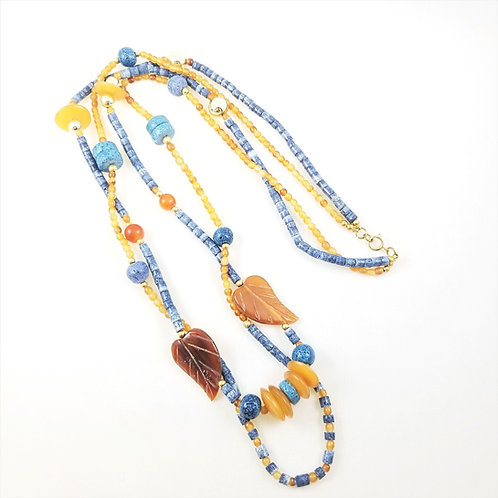 "Artisan Crafted Blue Coral & Amber 36"" Necklace"