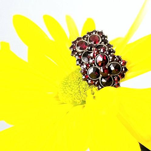 12k Victorian Bohemia Garnet Cluster Earrings