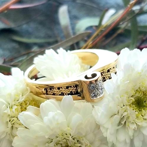 14k Retro Style Diamond Ring