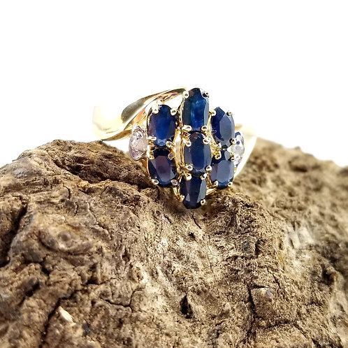 Vintage 14k Sapphire & Diamond Evening Ring