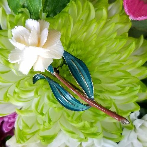 German Enamel & Celluloid Flower Brooch