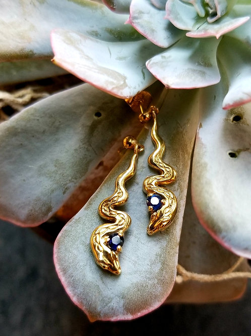 9k Victorian Sapphire Serpent Earrings