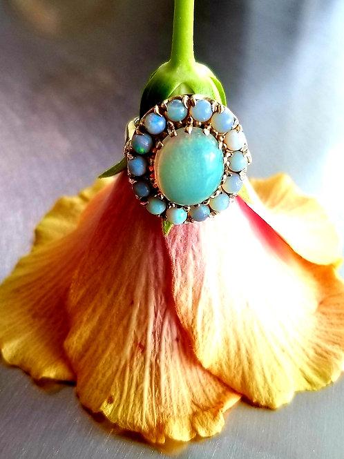 14k Natural Opal Halo Ring