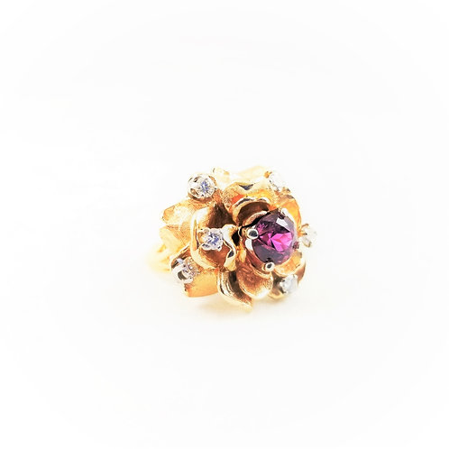 14k Natural NO Heat Pink Sapphire and Diamond Cocktail Ring