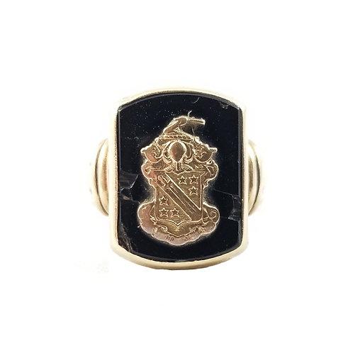 1930's Black Onyx 10k Phi Delta Theta Fraternity Class Ring