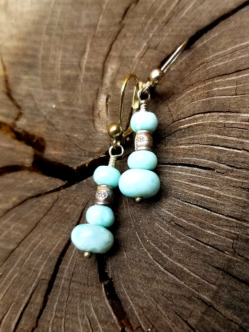 Hand Crafted Sterling Silver Larimar  Earrings