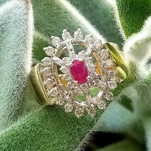 Vintage 14k Ruby & Diamond Fashion Ring