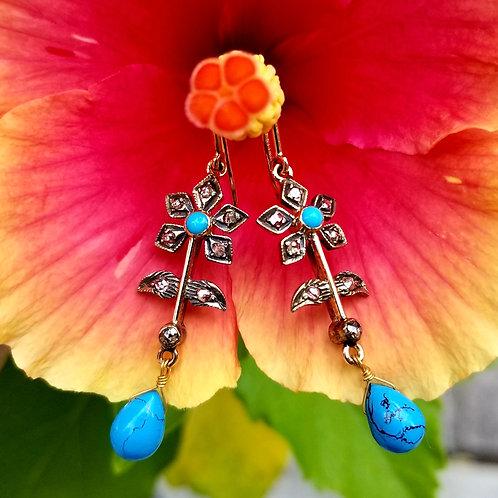 Vintage Sterling Silver & 14k Turquoise & Diamond Earrings