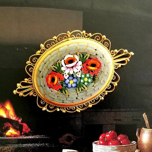 Italian Micro Mosaic Gold Tone Brooch