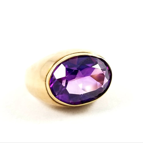14k Large Natural Amethyst Ring