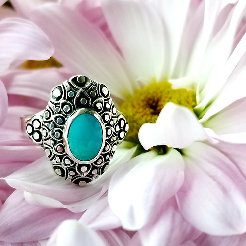 Dotted Sterling Silver & Robins Egg Turquoise Ring