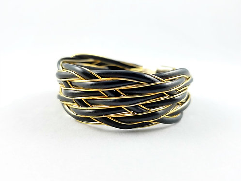 18k Antique Natural Elephant Tail Hair Braided Cuff SOLD