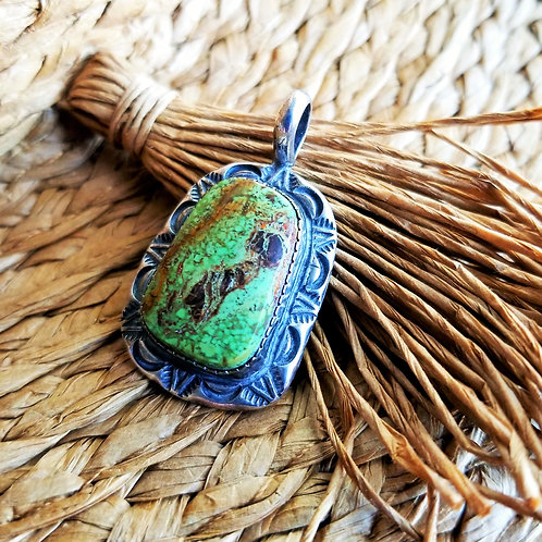 Sterling Silver Green Turquoise Navajo Pendant by Mike Smith