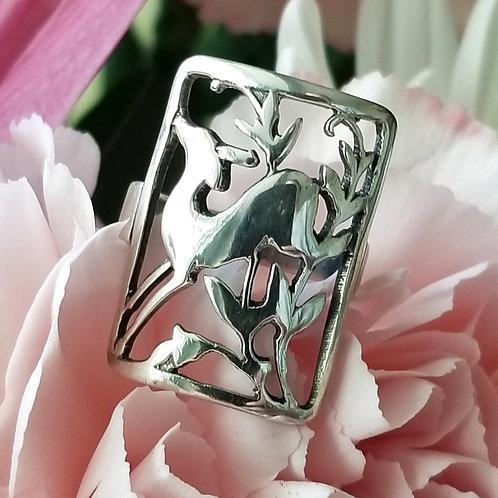 Frolicking Deer Ring Sterling Ring