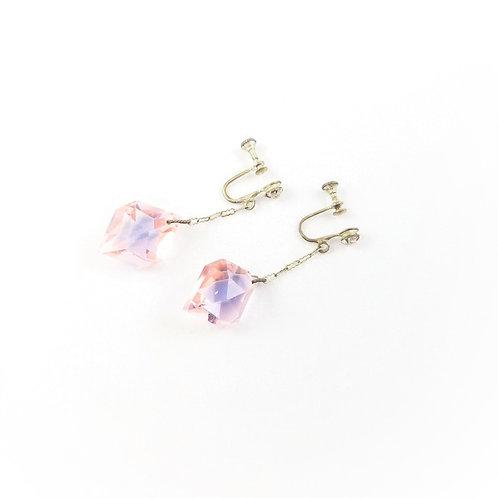 Art Deco Pink Glass & Paste Dangle Earrings