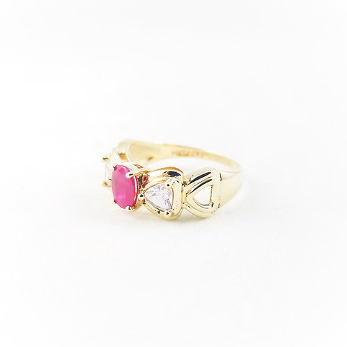 Vintage 14k Ruby & White Sapphire Bow Ring