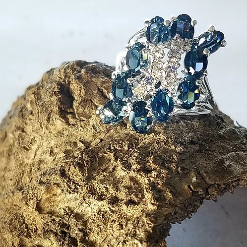 Sterling Plate Blue & Clear CZ Waterfall Ring