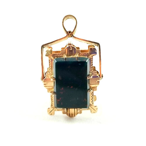 Victorian 12k Rose Gold Bloodstone & Sardonyx Locket FOB