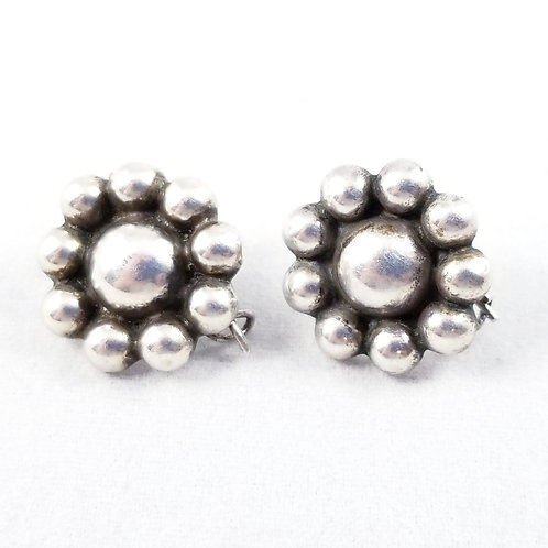 Vintage Sterling Silver Cluster Button Earrings