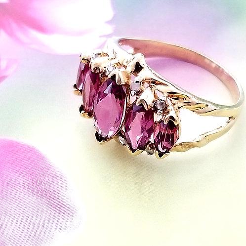 Amethyst CZ & Diamond 10k Ring