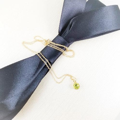 14k Rope Design Peridot Charm Pendant