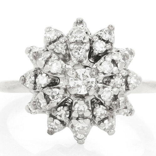 14k Vintage Diamond Snowball Cluster Ring