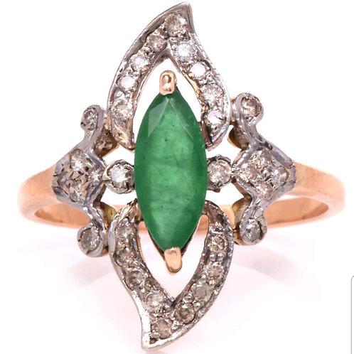14k Antique Style Emerald & Diamond Ring