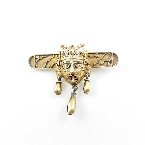 Vintage 10k Over Sterling Inca or Mayan Inspired Mask Brooch