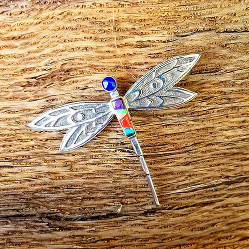 Large Sterling Multi Stone Dragonfly Pendant / Pin