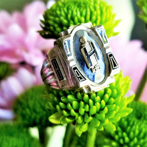 Vintage 10k Hematite 1970 High School Ring