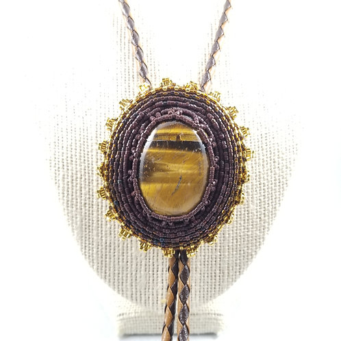 Hand Crafted Large Tigers Eye Leather & Silver Bolo Tie