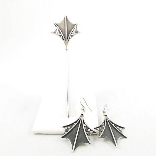 Art Deco Sterling Silver Bat Wing Earrings & Pin Set