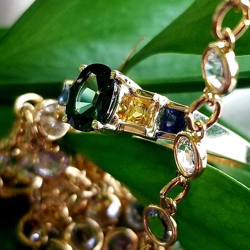 14k Tourmaline, Sapphire & Citrine Ring