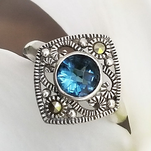 Sterling Natural Sapphire & Marcasite Ring