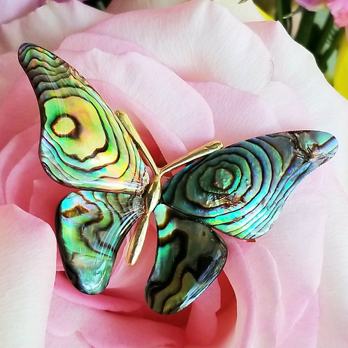 Natural Abalone Butterfly Brooch