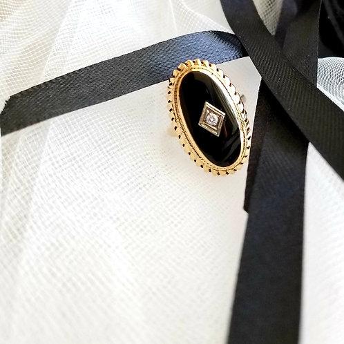 10k Antique Black Onyx & Diamond Ring