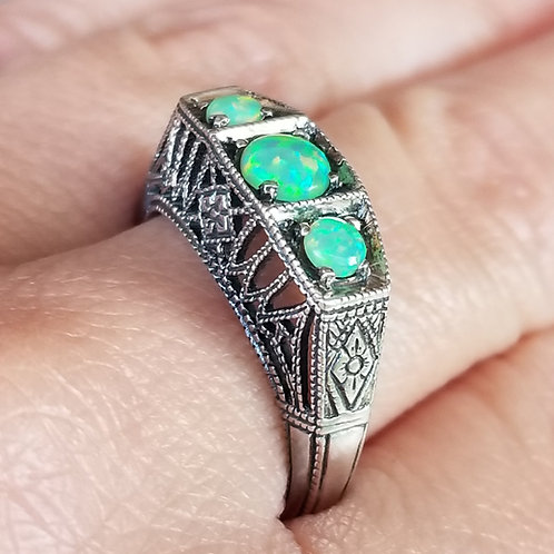 Sterling Silver & Opal Art Deco Style Ring