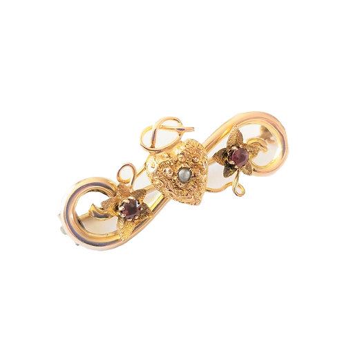 9k Victorian Ruby & Pearl Heart Brooch