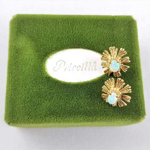 Vintage 14k Opal Gold Burst Earrings by Priscilla